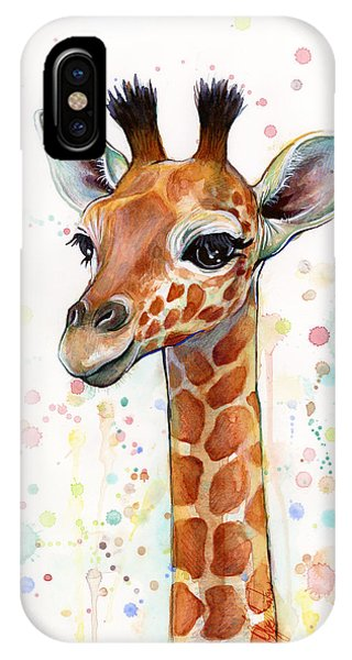 Colorful iPhone Case - Baby Giraffe Watercolor  by Olga Shvartsur