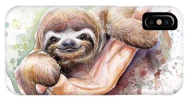 Baby Sloth Watercolor IPhone Case