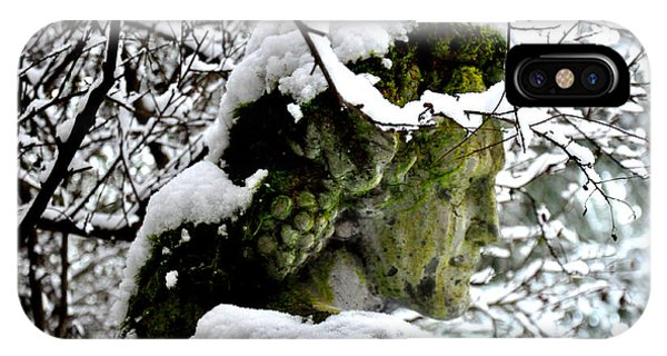 Bacchus Statue Under Snow IPhone Case