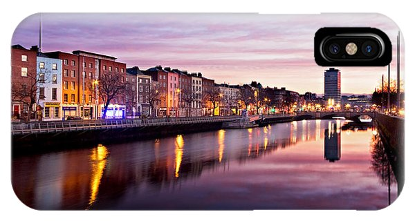 IPhone Case featuring the photograph Bachelors Walk And River Liffey At Dawn - Dublin by Barry O Carroll