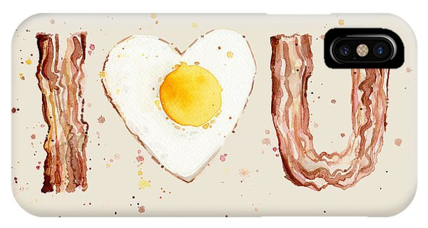 Food iPhone Case - Bacon And Egg I Heart You Watercolor by Olga Shvartsur