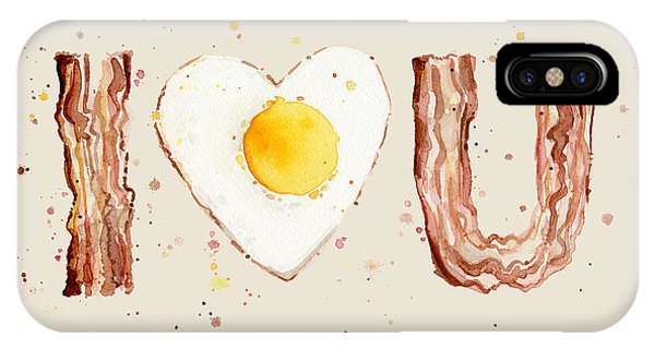 Eggs iPhone Case - Bacon And Egg I Heart You Watercolor by Olga Shvartsur