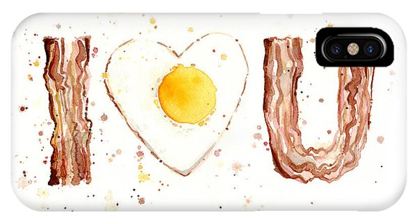 Bacon iPhone Case - Bacon And Egg I Love You by Olga Shvartsur