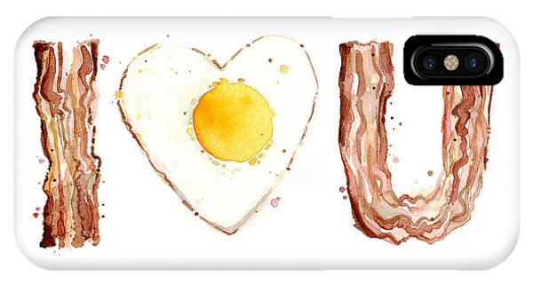I Love You iPhone Case - Bacon And Egg Love by Olga Shvartsur
