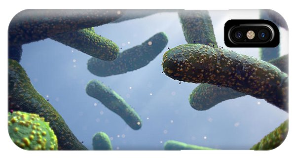 Micro-organisms iPhone Case - Bacteria And Bacteriophages by Thierry Berrod, Mona Lisa Production