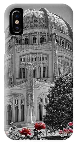 Bahai Temple Wilmette In Black And White IPhone Case
