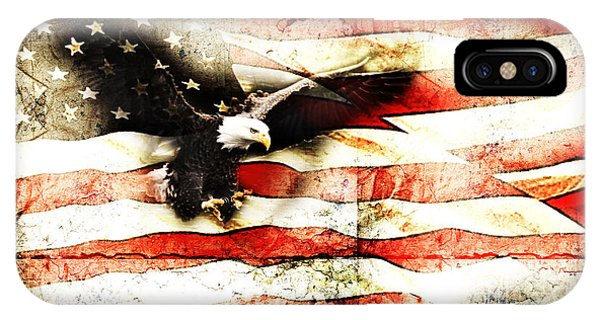 Bald Eagle Bursting Thru Flag IPhone Case
