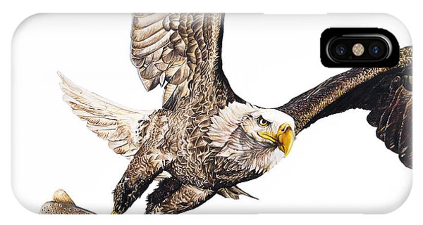 Hyper Realism iPhone Case - Bald Eagle Fishing White Background by Aaron Spong