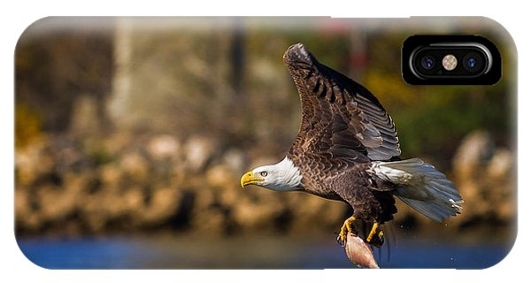 Bald Eagle In Flight Over Water Carrying A Fish IPhone Case