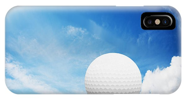 Golf Ball iPhone Case - Ball On Tee On Green Golf Field by Michal Bednarek