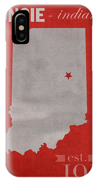 Ball iPhone Case - Ball State University Cardinals Muncie Indiana College Town State Map Poster Series No 017 by Design Turnpike