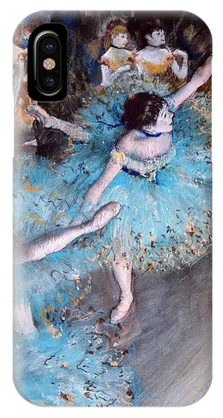 Blue Dress iPhone Case - Ballerina On Pointe  by Edgar Degas