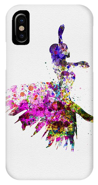 Musical iPhone Case - Ballerina On Stage Watercolor 4 by Naxart Studio