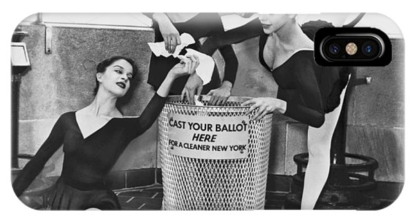 Rubbish Bin iPhone Case - Ballet On Top Of Empire State by Herman Hiller