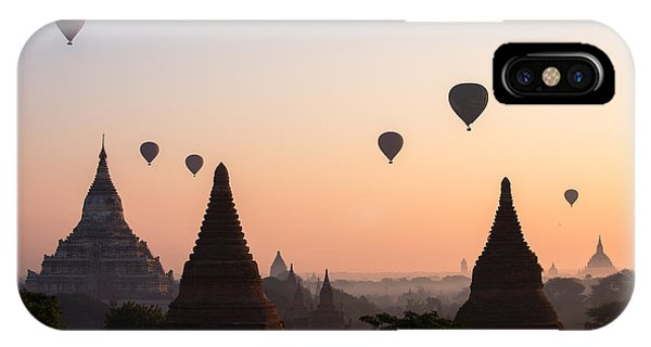 Temple iPhone Case - Ballons Over The Temples Of Bagan At Sunrise - Myanmar by Matteo Colombo