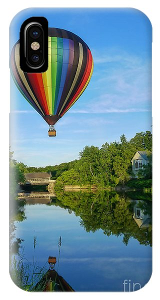 Covered Bridge iPhone Case - Balloons Over Quechee Vermont by Edward Fielding