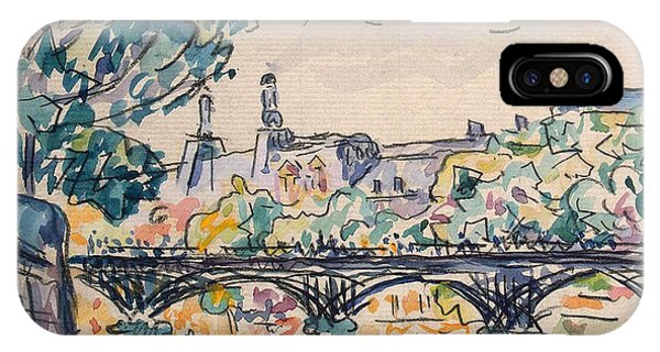 Pen And Ink Drawings For Sale iPhone Case - Bank Of The Seine Near The Pont Des Arts by Paul Signac