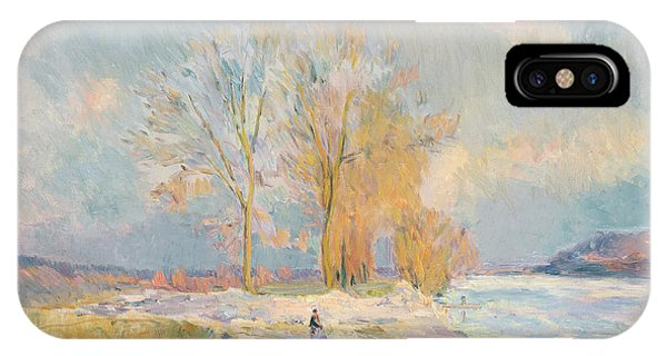 Banks Of The Seine And Vernon In Winter IPhone Case