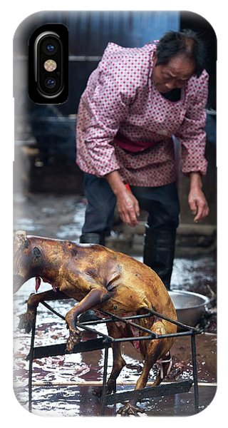 Carcass iPhone Case - Barbecued Dog Carcass In A Chinese Market by Tony Camacho