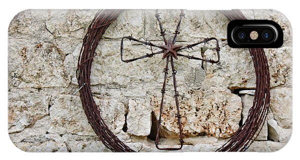 Old Rugged Cross iPhone Case - Barbed Wire Cross by Terry Fleckney