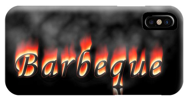 Barbeque iPhone Case - Barbeque Text On Fire by Henrik Lehnerer
