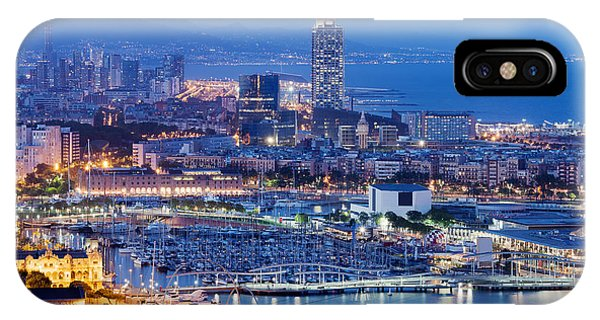 Barcelona Cityscape By Night IPhone Case