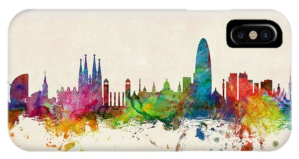 Skyline iPhone Case - Barcelona Spain Skyline by Michael Tompsett