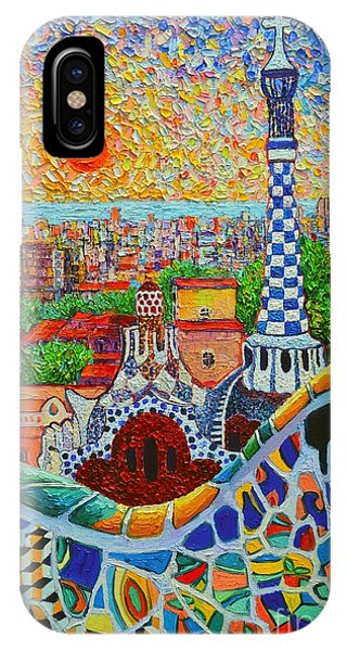 Barcelona Sunrise - Guell Park - Gaudi Tower IPhone Case