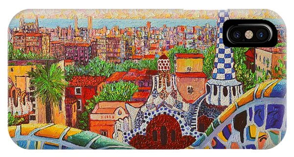 Barcelona Sunrise Light - View From Park Guell Of Gaudi - Square Format IPhone Case