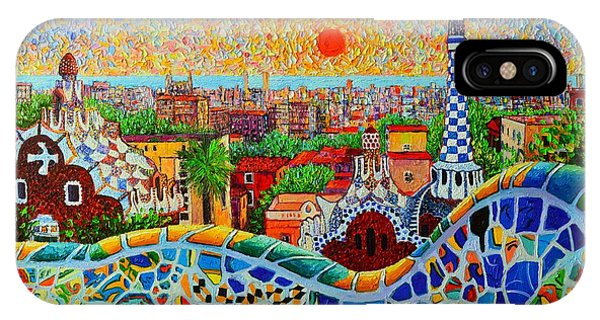 Expressionism iPhone Case - Barcelona View At Sunrise - Park Guell  Of Gaudi by Ana Maria Edulescu