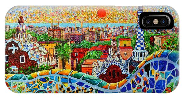 Barcelona View At Sunrise - Park Guell  Of Gaudi IPhone Case