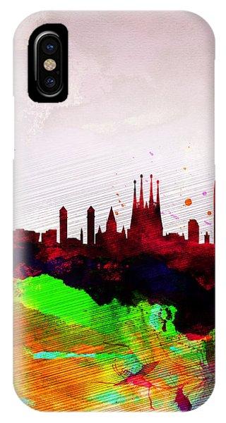 Spain iPhone Case - Barcelona Watercolor Skyline by Naxart Studio