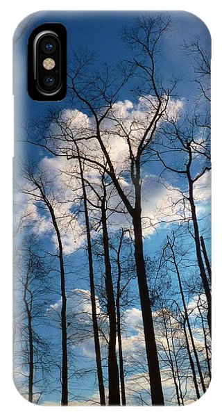 Bare Trees Fluffy Clouds IPhone Case