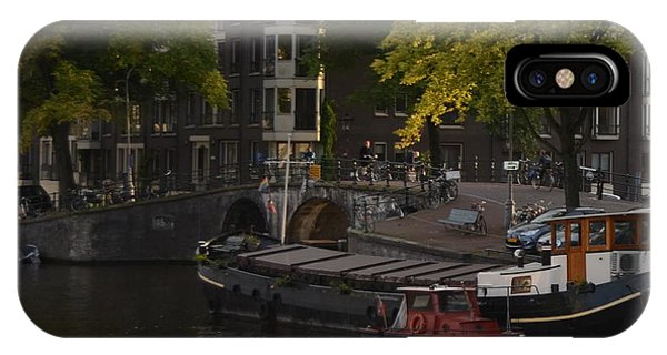 barges in Amsterdam IPhone Case
