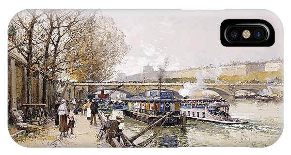Barges On The Seine IPhone Case