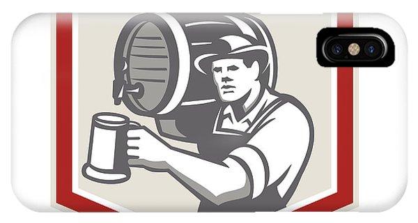 Barman Lifting Barrel Pouring Beer Mug Retro Phone Case by Aloysius Patrimonio
