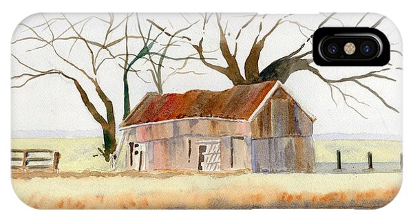 Pylon iPhone Case - Barn Along The Bank by Marsha Elliott