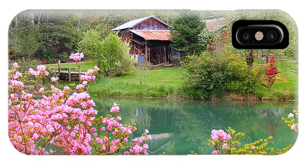Barn And Flowers Near Pond IPhone Case