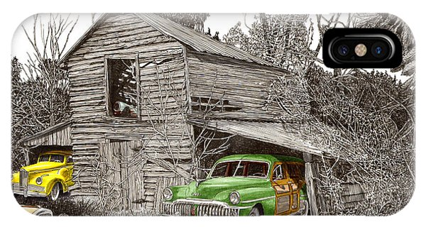 Pen And Ink Of Barn iPhone Case - Barn Finds Classic Cars by Jack Pumphrey