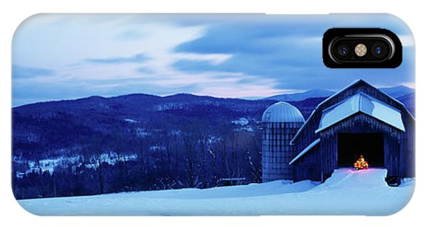 New England Barn iPhone Case - Barn In A Snow Covered Field, Vermont by Panoramic Images