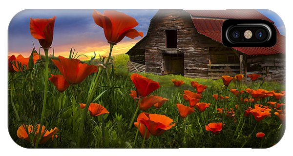Smokey iPhone Case - Barn In Poppies by Debra and Dave Vanderlaan