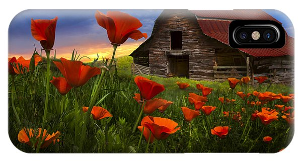 Barn In Poppies IPhone Case