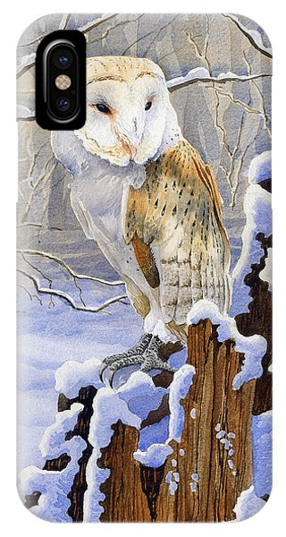 Barn Owl In Snow Phone Case by Anthony Forster