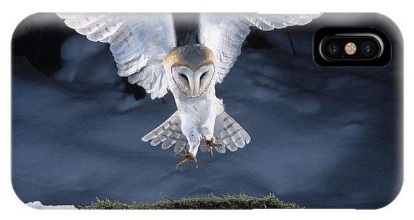 In Flight iPhone Case - Barn Owl Landing by Manfred Danegger