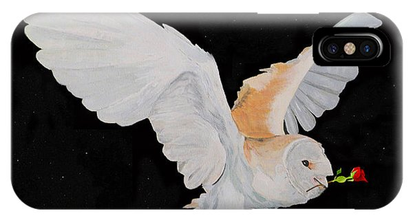 Barn Owl With Rose IPhone Case