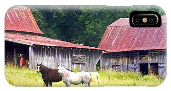 Barns And Horses Near Mills River Nc IPhone Case