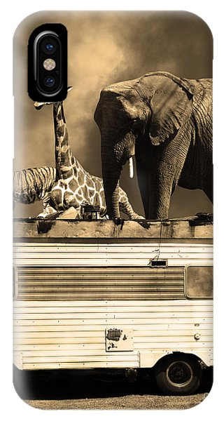 Barnum And Bailey iPhone Case - Barnum And Bailey Goes On A Road Trip 5d22705 Vertical Sepia by Wingsdomain Art and Photography