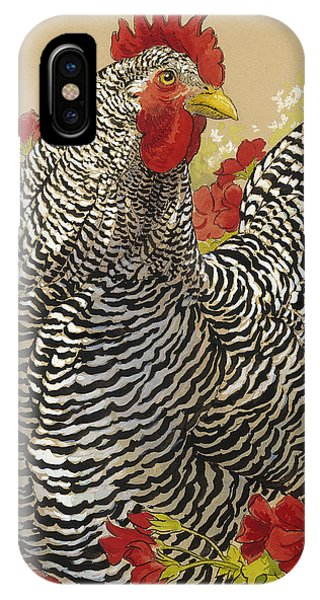 Barnyard iPhone Case - Barred Rock Rooster In The Geraniums by Tracie Thompson