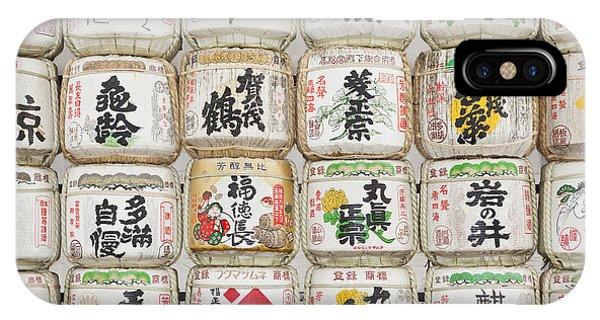 Barrels Of Sake At The Meiji Jingu Shrine IPhone Case