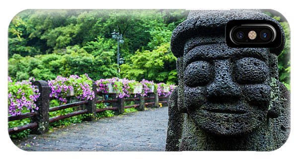 Basalt iPhone Case - Basalt Statue In Seogwipo, Unesco World by Michael Runkel